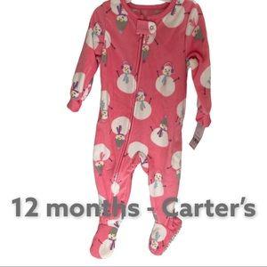 Carter's baby 12 month zipper pajamas with footies